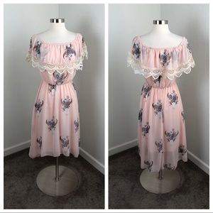 NEW Charlotte Russe pink cow skull lace dress